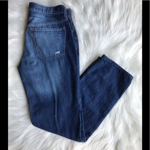 Old Navy Distressed Button-Fly Boyfriend Jeans; 8.